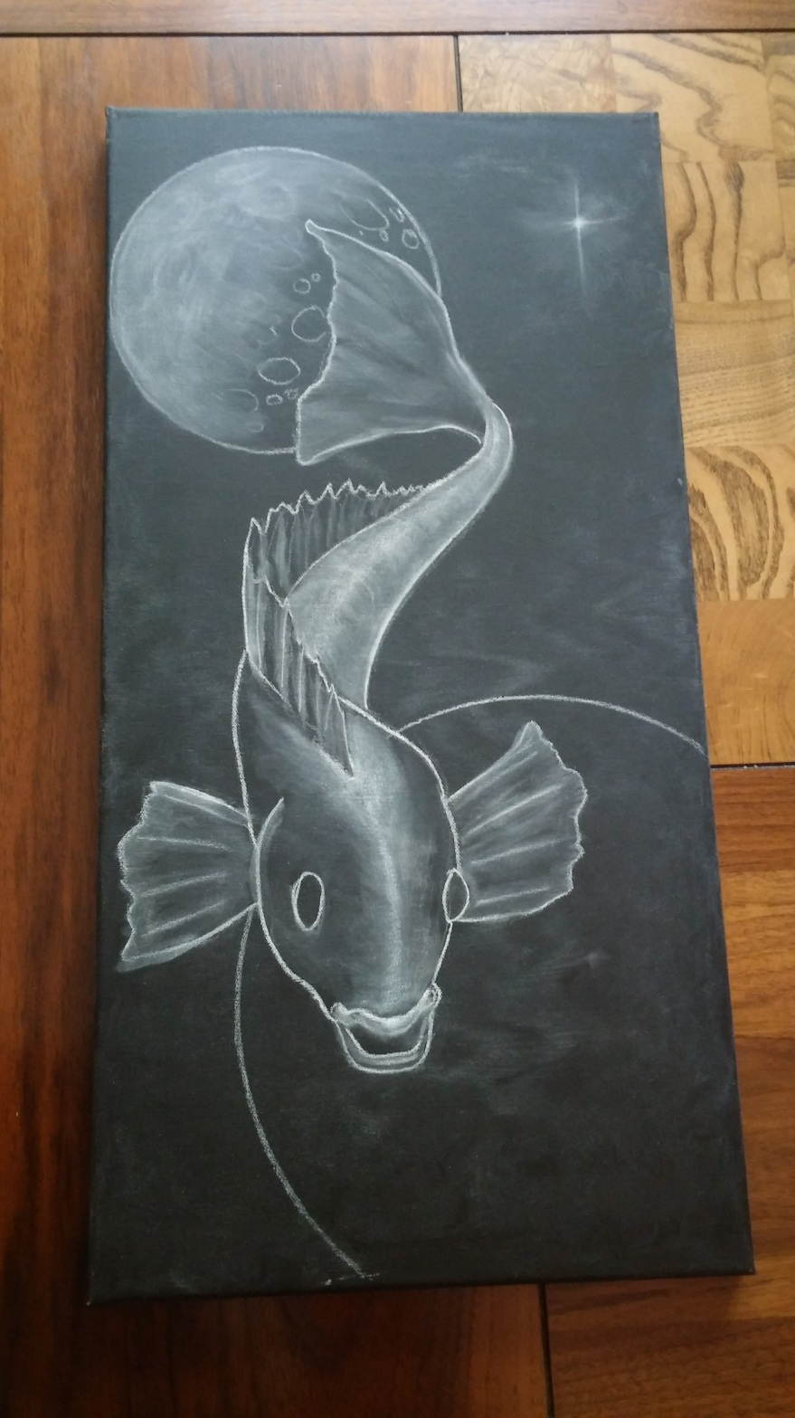 Shaun Hays, Chicago Chalk Champ - unfinished piece - Fish in Space Concept on a canvas...