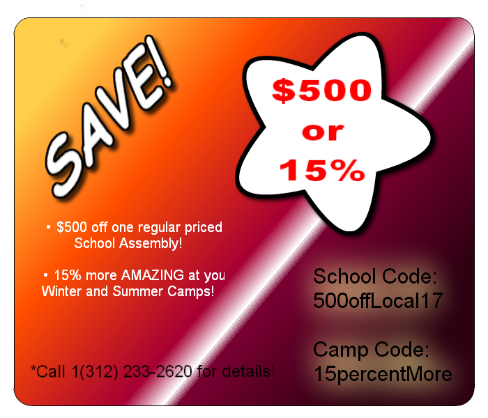 Coupon code for Chicago Chalk Champs legendary creative school assembly or camp presentations with bonus art!