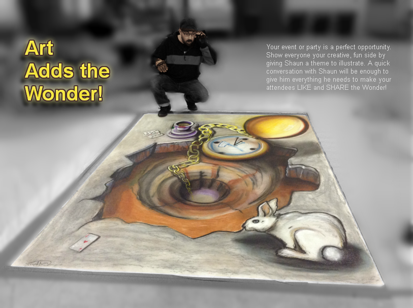 Shaun Hays, Chicago Chalk Champ - Chalk Art Illusions - 3D Chalk Art - Master Chalk Artist- Party Entertainer