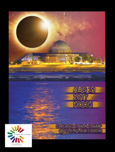Chicago Chalk Champ, Shaun Hays will be at Adler Planetarium August 21, 2017 creating some amazing pavement masterpieces